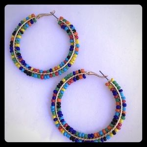 Design Lab Multi color Beaded Large Hoop Earrings